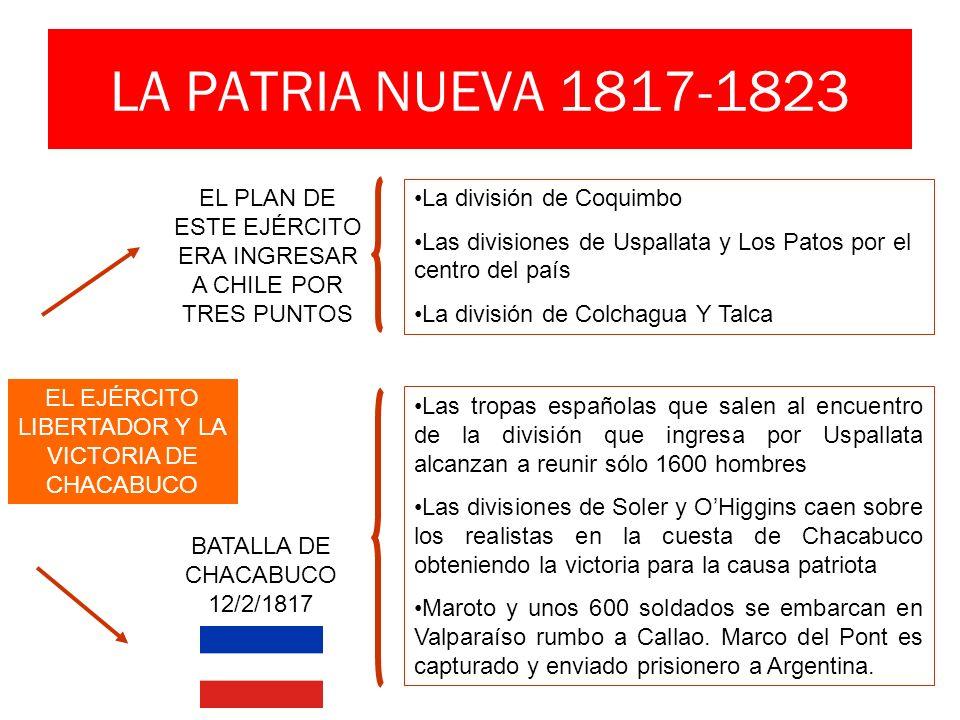 LA PATRIA NUEVA 1817-1823 EL PLAN DE ESTE EJÉRCITO ERA INGRESAR A CHILE POR TRES PUNTOS La división de Coquimbo Las divisiones de Uspallata y Los Pato