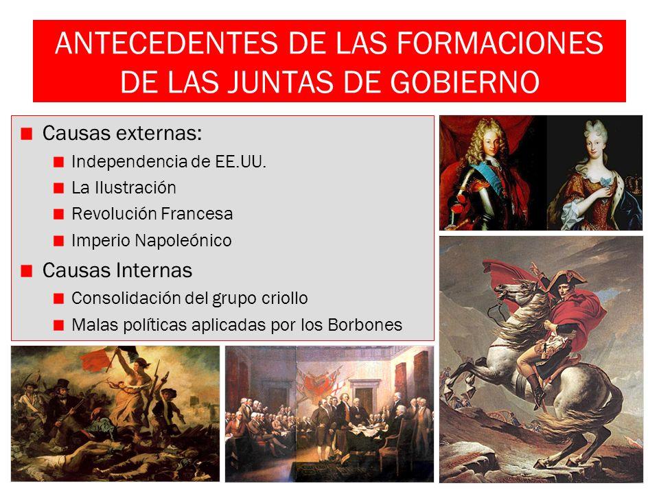 ANTECEDENTES DE LAS FORMACIONES DE LAS JUNTAS DE GOBIERNO Causas externas: Independencia de EE.UU. La Ilustración Revolución Francesa Imperio Napoleón