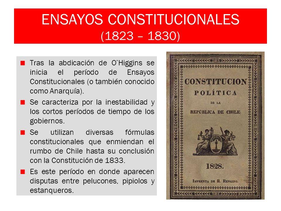 ENSAYOS CONSTITUCIONALES (1823 – 1830) Tras la abdicación de OHiggins se inicia el período de Ensayos Constitucionales (o también conocido como Anarqu