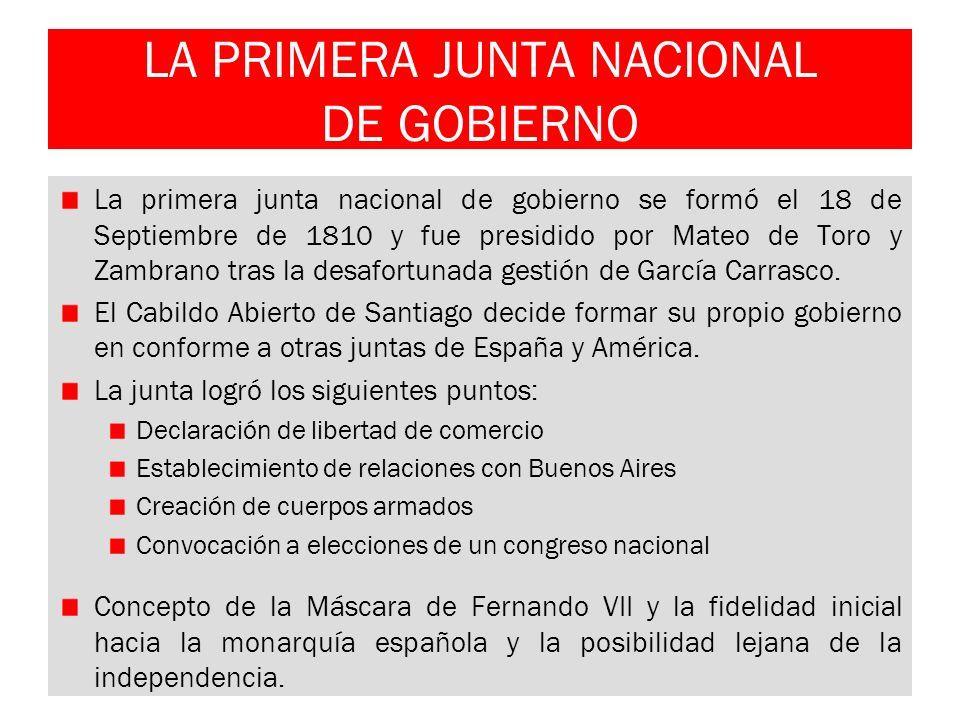 LA PRIMERA JUNTA NACIONAL DE GOBIERNO La primera junta nacional de gobierno se formó el 18 de Septiembre de 1810 y fue presidido por Mateo de Toro y Z