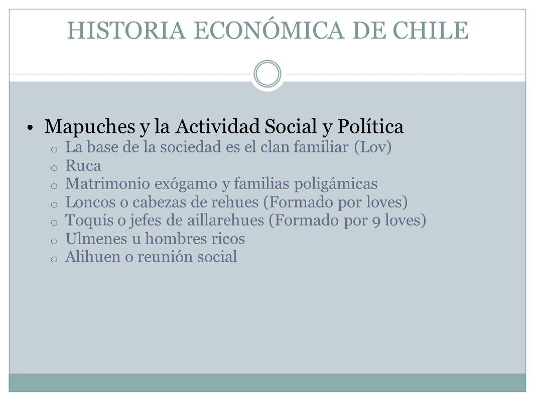 HISTORIA ECONÓMICA DE CHILE Mapuches y la Actividad Social y Política o La base de la sociedad es el clan familiar (Lov) o Ruca o Matrimonio exógamo y