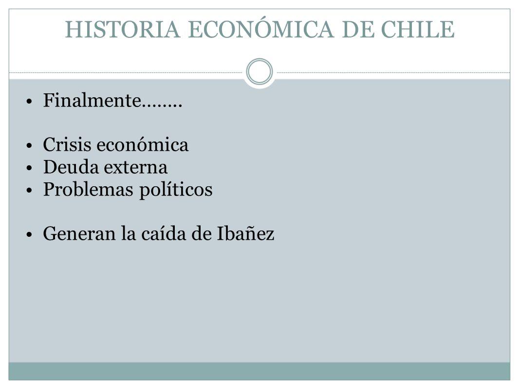 HISTORIA ECONÓMICA DE CHILE Finalmente…….. Crisis económica Deuda externa Problemas políticos Generan la caída de Ibañez