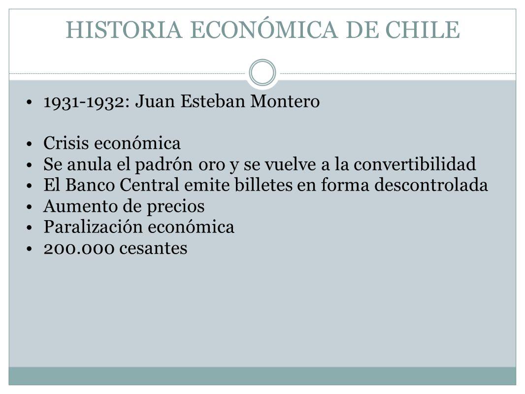 HISTORIA ECONÓMICA DE CHILE 1931-1932: Juan Esteban Montero Crisis económica Se anula el padrón oro y se vuelve a la convertibilidad El Banco Central
