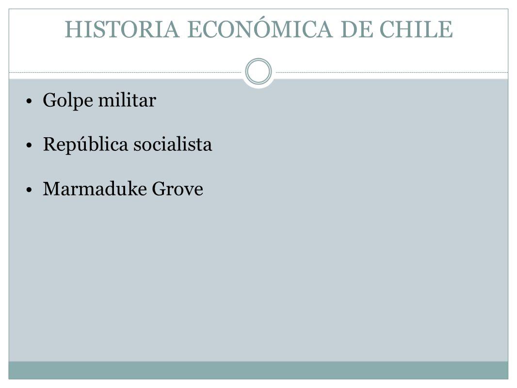 HISTORIA ECONÓMICA DE CHILE Golpe militar República socialista Marmaduke Grove