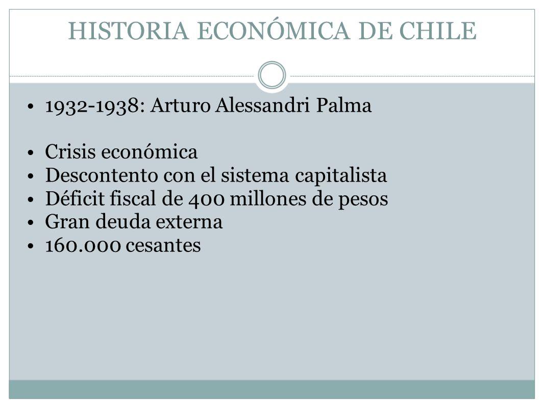 HISTORIA ECONÓMICA DE CHILE 1932-1938: Arturo Alessandri Palma Crisis económica Descontento con el sistema capitalista Déficit fiscal de 400 millones