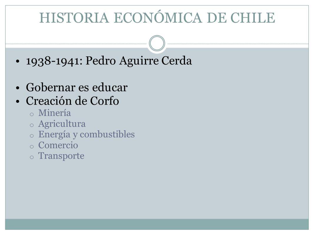 HISTORIA ECONÓMICA DE CHILE 1938-1941: Pedro Aguirre Cerda Gobernar es educar Creación de Corfo o Minería o Agricultura o Energía y combustibles o Com