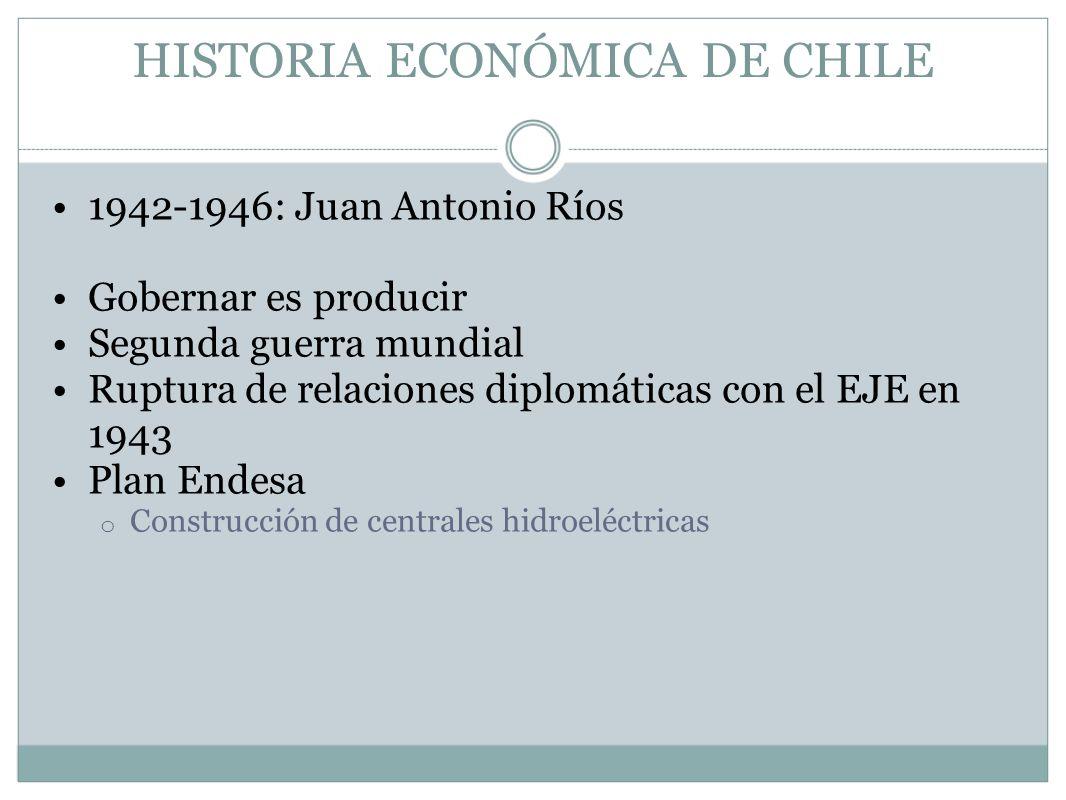 HISTORIA ECONÓMICA DE CHILE 1942-1946: Juan Antonio Ríos Gobernar es producir Segunda guerra mundial Ruptura de relaciones diplomáticas con el EJE en