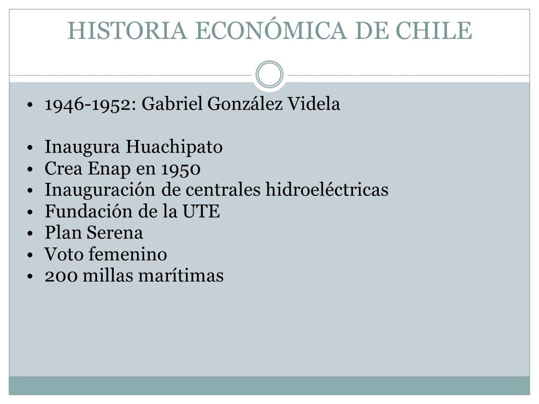 HISTORIA ECONÓMICA DE CHILE 1946-1952: Gabriel González Videla Inaugura Huachipato Crea Enap en 1950 Inauguración de centrales hidroeléctricas Fundaci