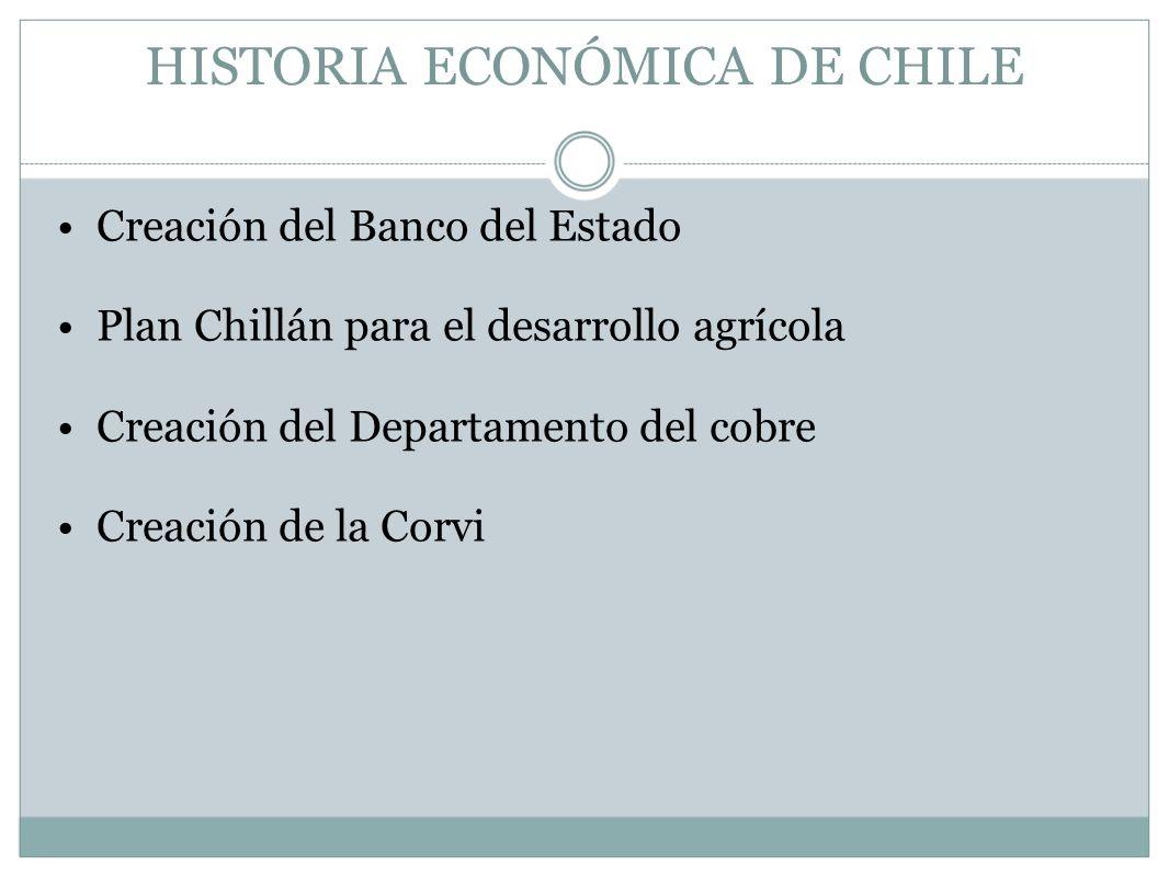 HISTORIA ECONÓMICA DE CHILE Creación del Banco del Estado Plan Chillán para el desarrollo agrícola Creación del Departamento del cobre Creación de la