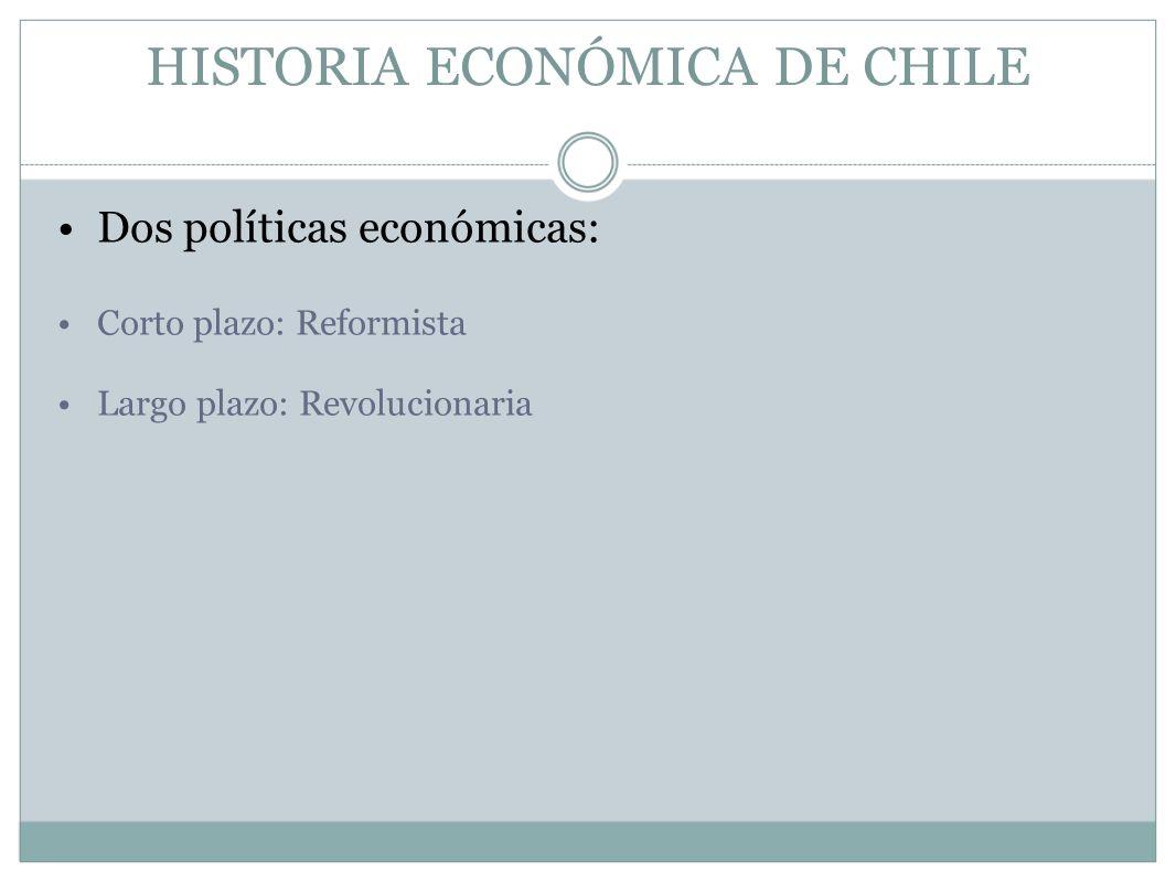 HISTORIA ECONÓMICA DE CHILE Dos políticas económicas: Corto plazo: Reformista Largo plazo: Revolucionaria