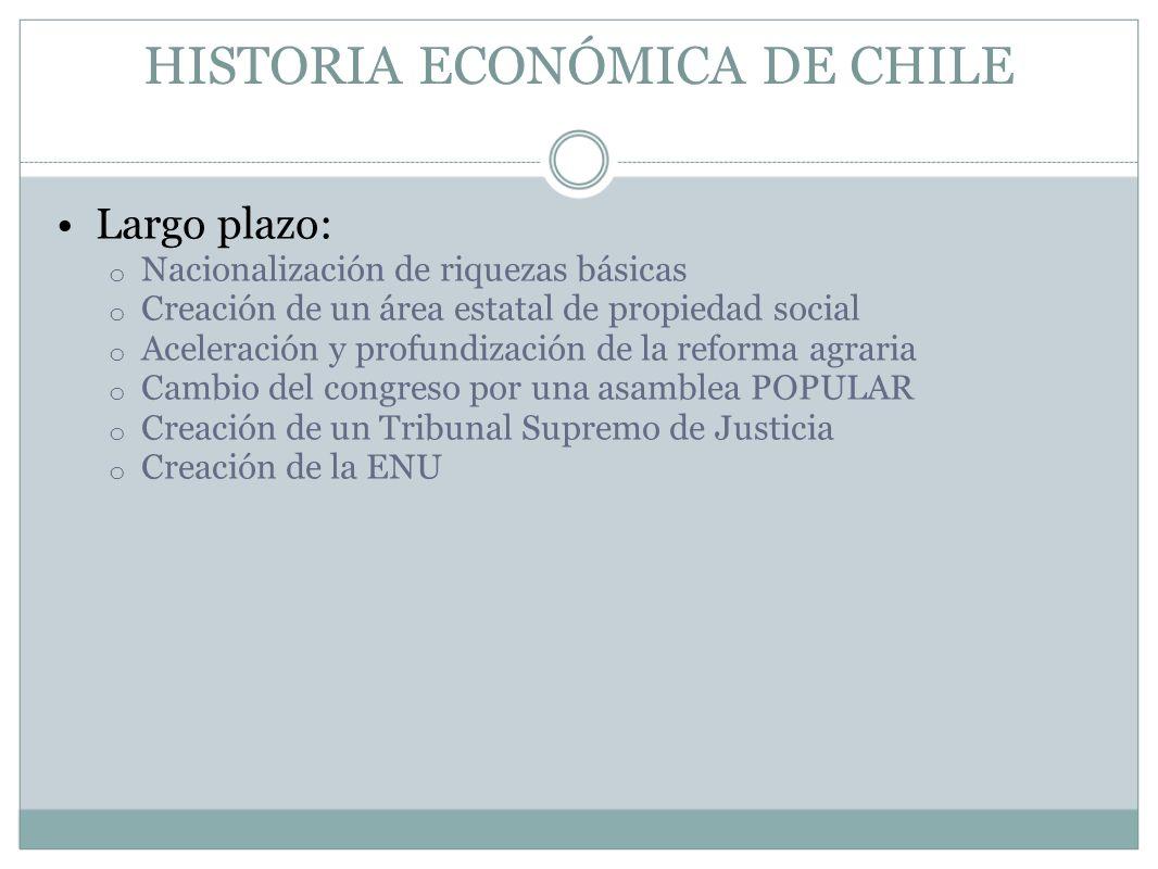 HISTORIA ECONÓMICA DE CHILE Largo plazo: o Nacionalización de riquezas básicas o Creación de un área estatal de propiedad social o Aceleración y profu