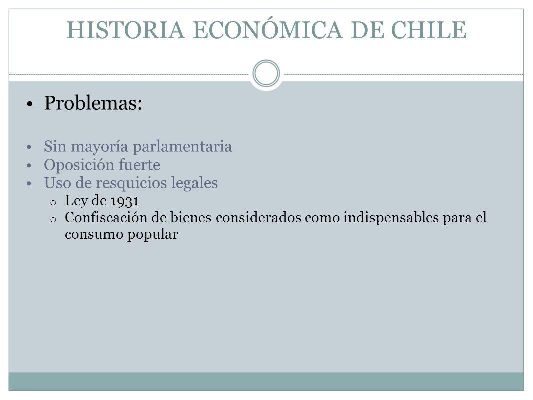 HISTORIA ECONÓMICA DE CHILE Problemas: Sin mayoría parlamentaria Oposición fuerte Uso de resquicios legales o Ley de 1931 o Confiscación de bienes con