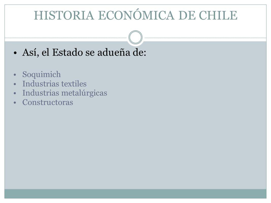 HISTORIA ECONÓMICA DE CHILE Así, el Estado se adueña de: Soquimich Industrias textiles Industrias metalúrgicas Constructoras