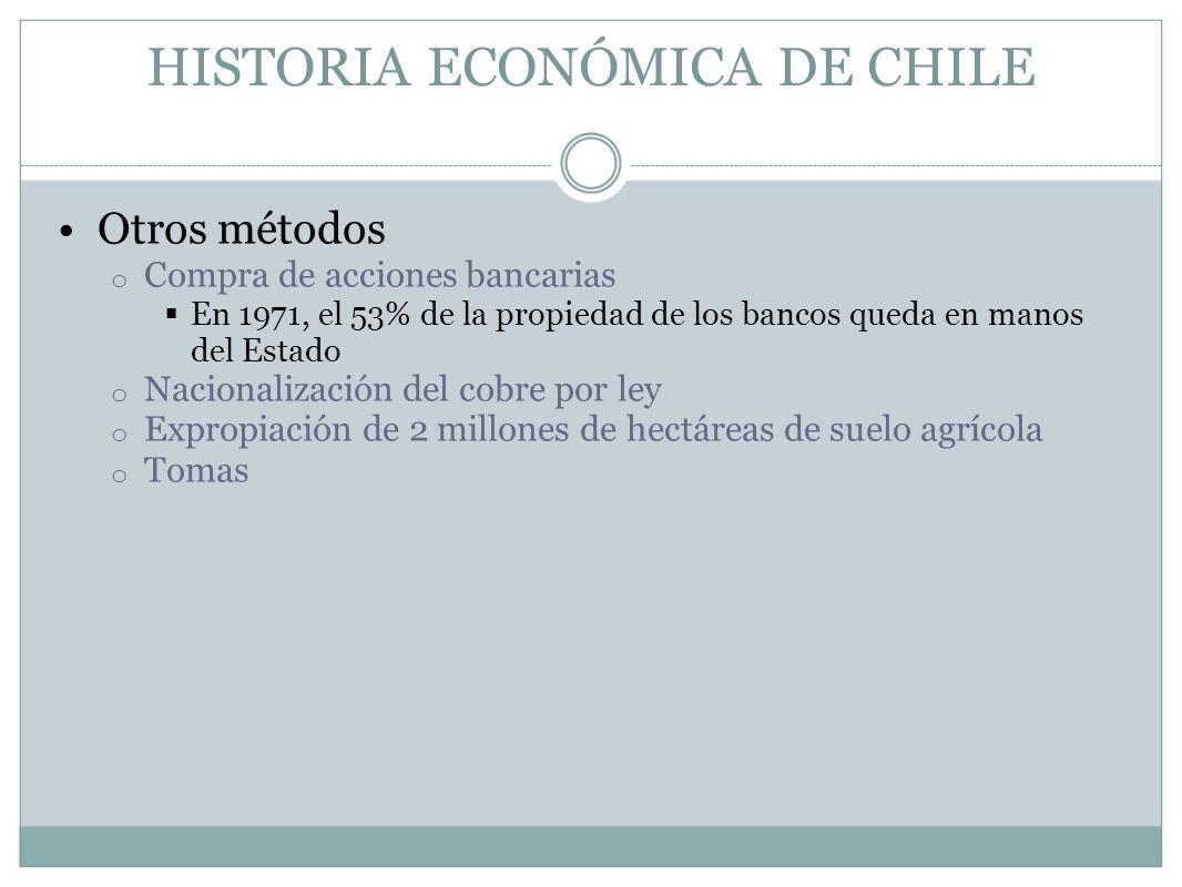 HISTORIA ECONÓMICA DE CHILE Otros métodos o Compra de acciones bancarias En 1971, el 53% de la propiedad de los bancos queda en manos del Estado o Nac