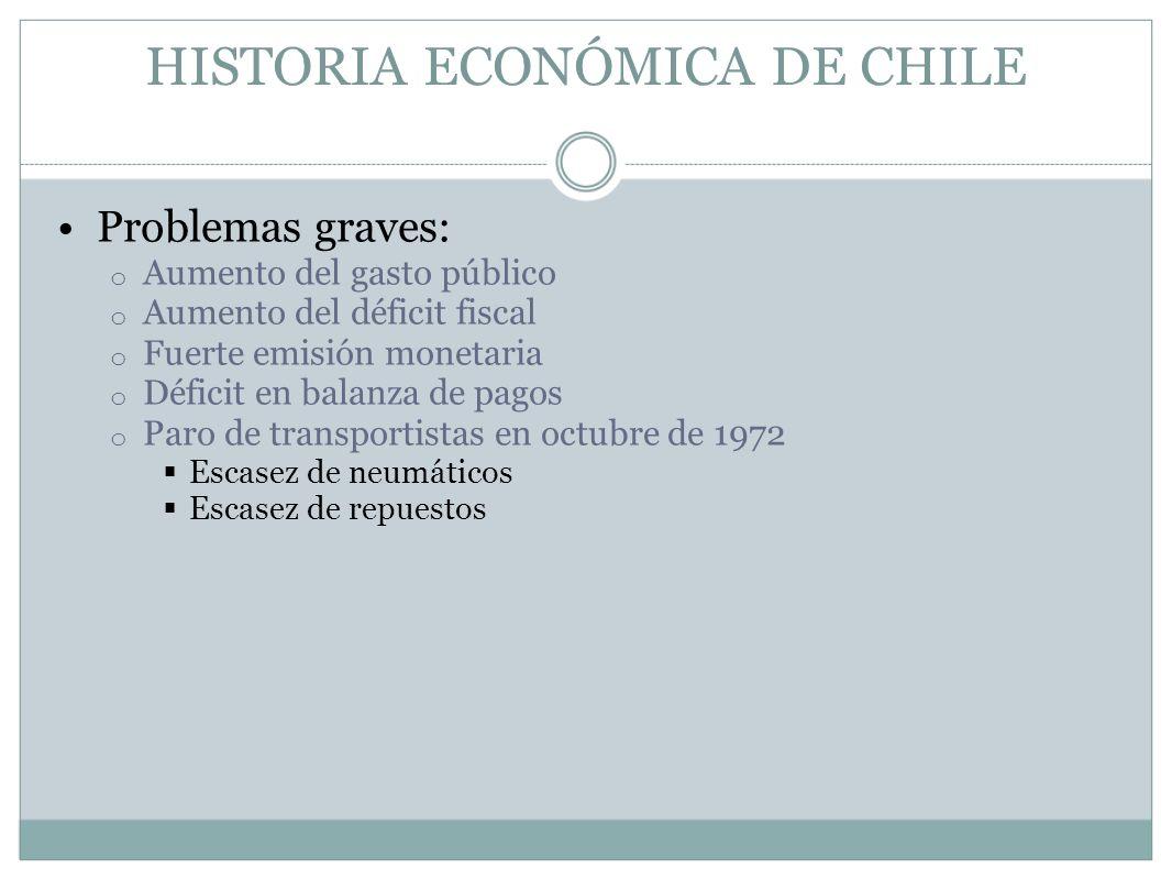 HISTORIA ECONÓMICA DE CHILE Problemas graves: o Aumento del gasto público o Aumento del déficit fiscal o Fuerte emisión monetaria o Déficit en balanza