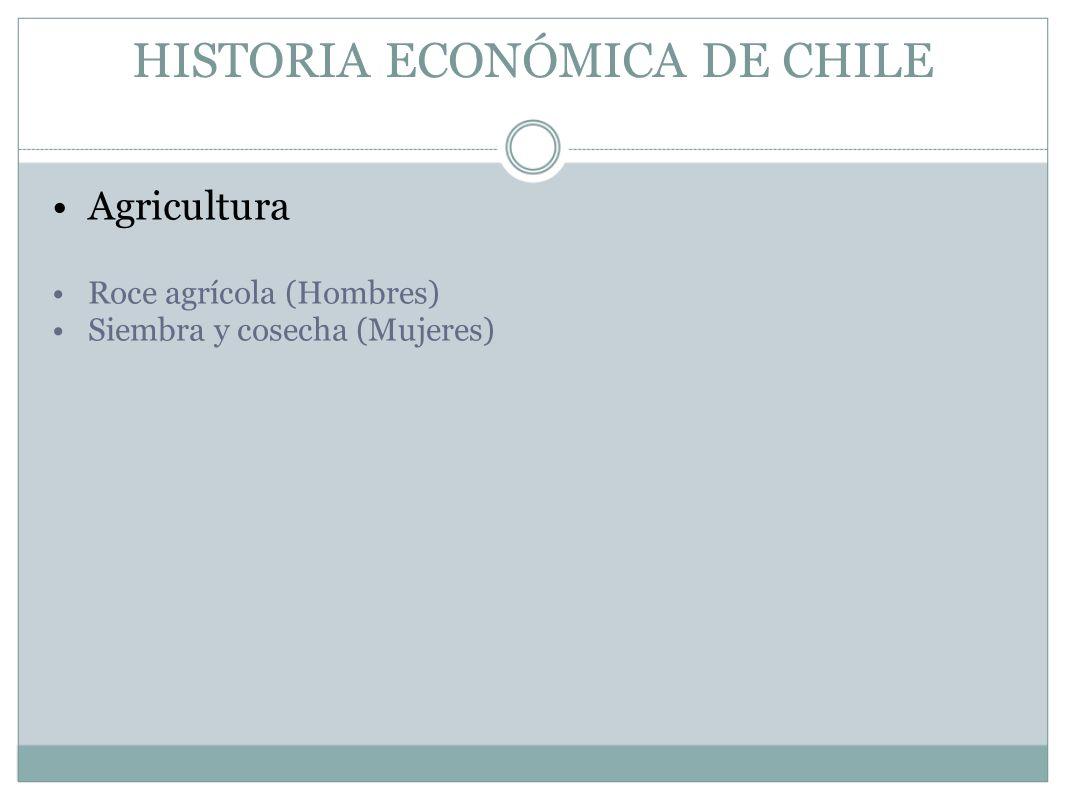 HISTORIA ECONÓMICA DE CHILE Agricultura Roce agrícola (Hombres) Siembra y cosecha (Mujeres)
