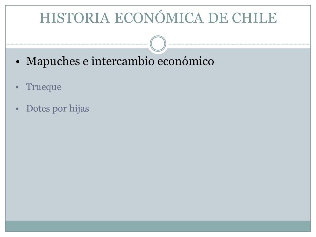 HISTORIA ECONÓMICA DE CHILE Mapuches e intercambio económico Trueque Dotes por hijas