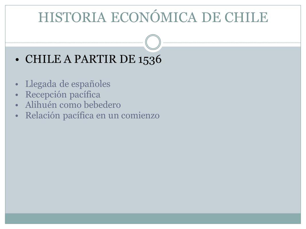 HISTORIA ECONÓMICA DE CHILE CHILE A PARTIR DE 1536 Llegada de españoles Recepción pacífica Alihuén como bebedero Relación pacífica en un comienzo