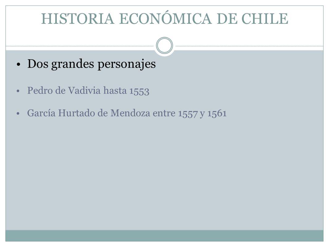 HISTORIA ECONÓMICA DE CHILE Dos grandes personajes Pedro de Vadivia hasta 1553 García Hurtado de Mendoza entre 1557 y 1561