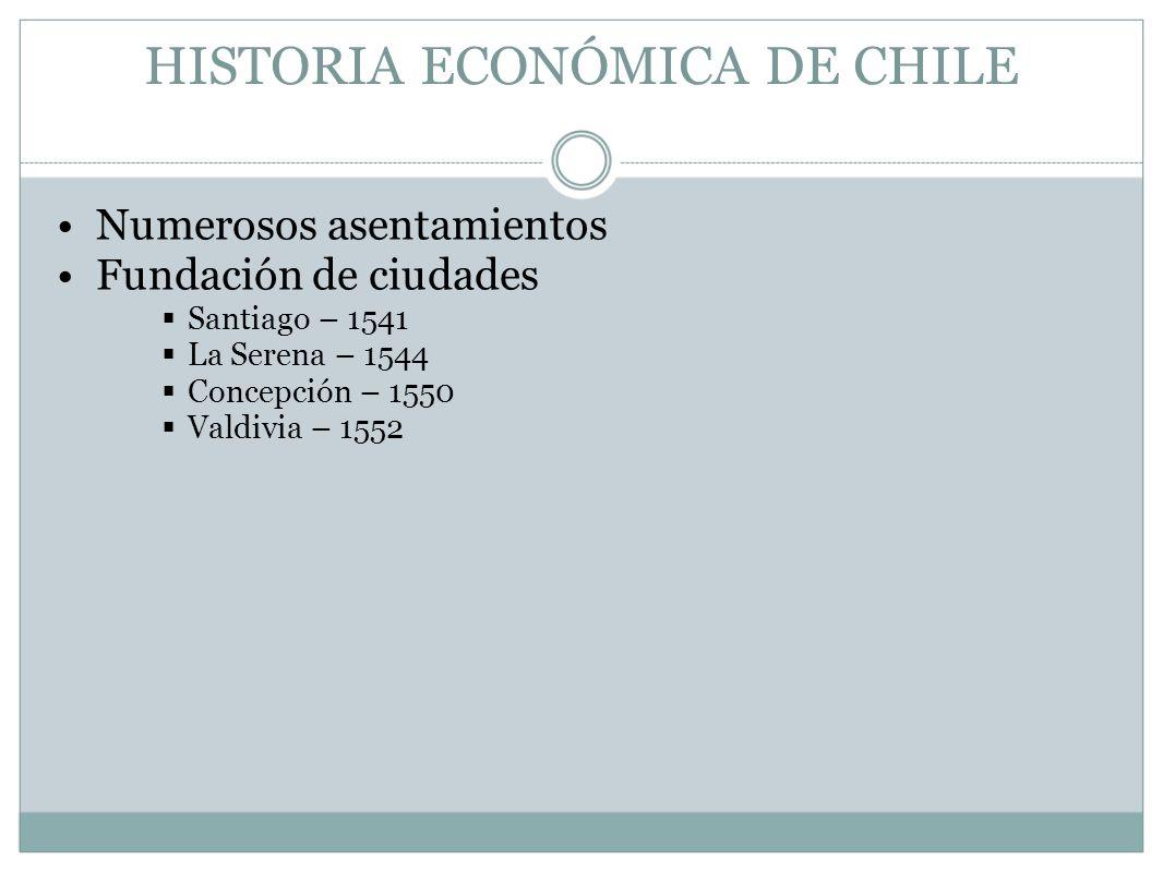 HISTORIA ECONÓMICA DE CHILE Numerosos asentamientos Fundación de ciudades Santiago – 1541 La Serena – 1544 Concepción – 1550 Valdivia – 1552