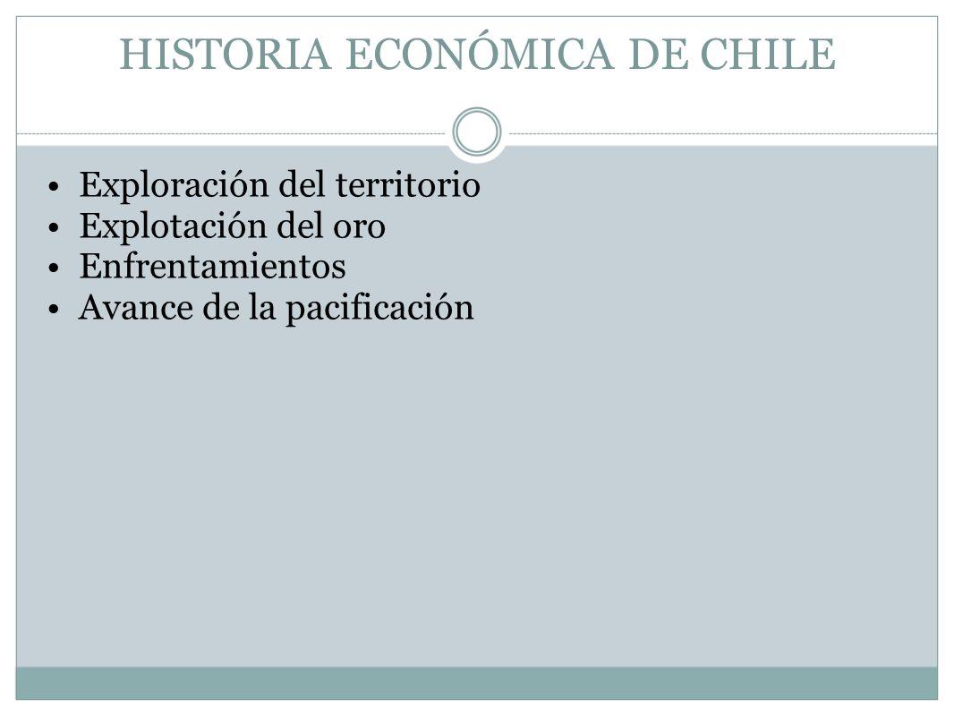 HISTORIA ECONÓMICA DE CHILE Exploración del territorio Explotación del oro Enfrentamientos Avance de la pacificación