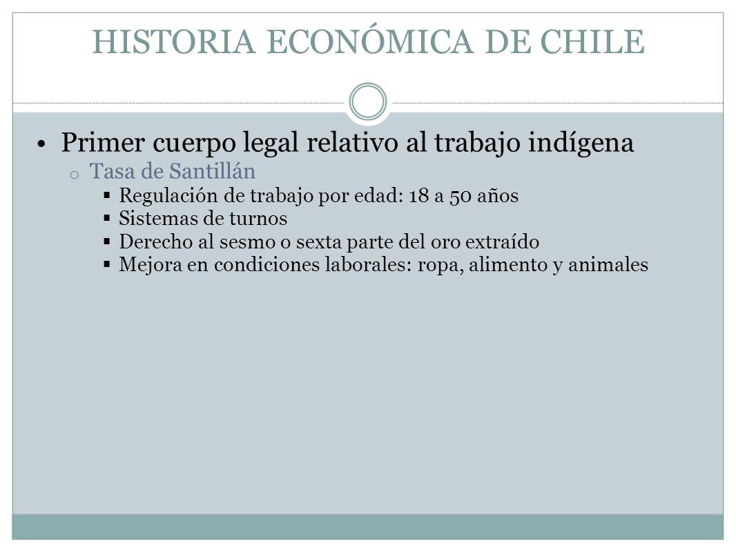HISTORIA ECONÓMICA DE CHILE Primer cuerpo legal relativo al trabajo indígena o Tasa de Santillán Regulación de trabajo por edad: 18 a 50 años Sistemas