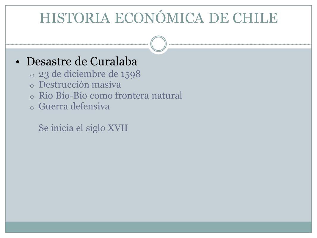 HISTORIA ECONÓMICA DE CHILE Desastre de Curalaba o 23 de diciembre de 1598 o Destrucción masiva o Río Bío-Bío como frontera natural o Guerra defensiva