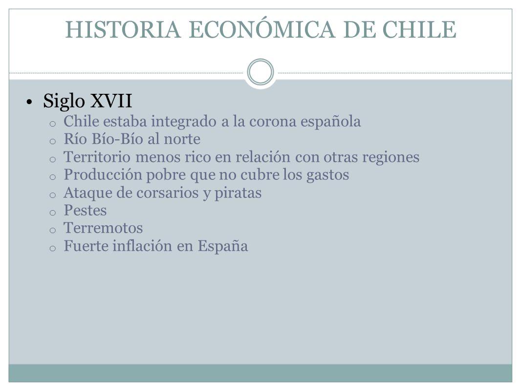 HISTORIA ECONÓMICA DE CHILE Siglo XVII o Chile estaba integrado a la corona española o Río Bío-Bío al norte o Territorio menos rico en relación con ot