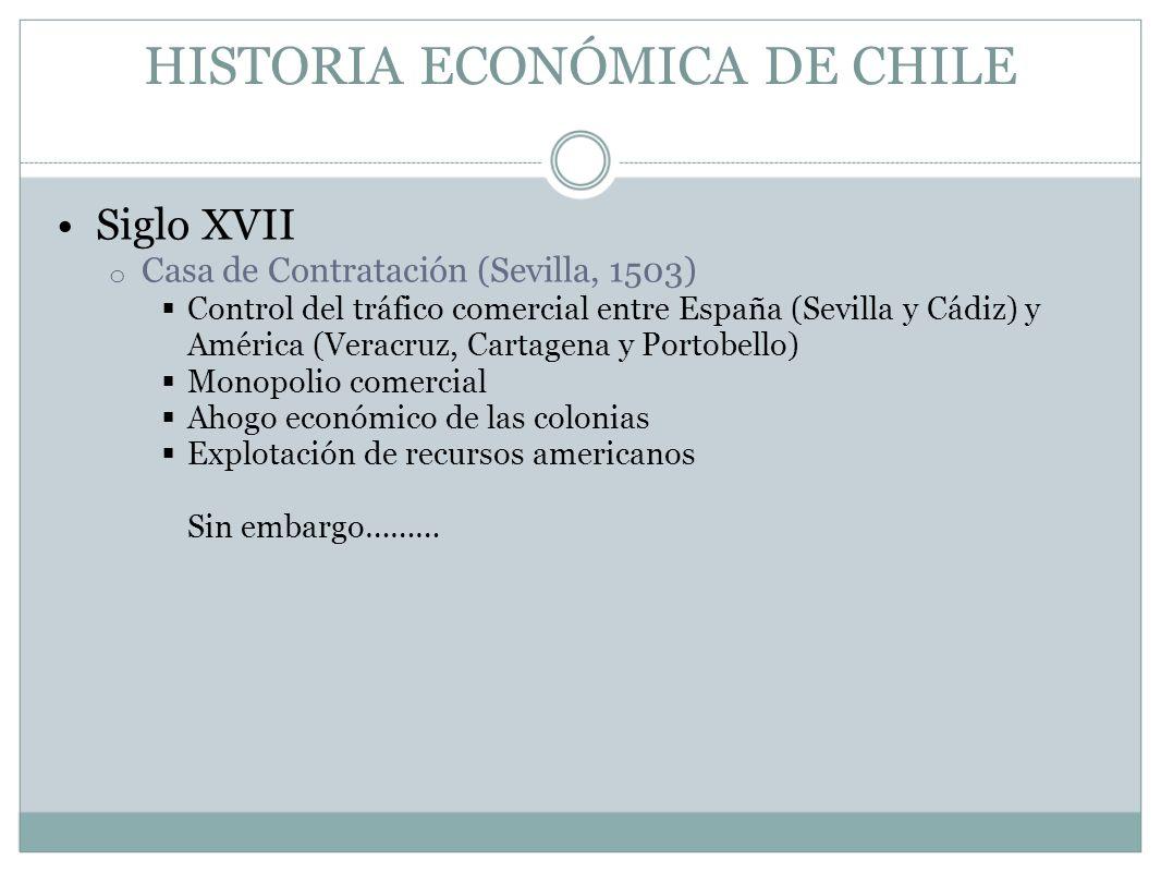 HISTORIA ECONÓMICA DE CHILE Siglo XVII o Casa de Contratación (Sevilla, 1503) Control del tráfico comercial entre España (Sevilla y Cádiz) y América (
