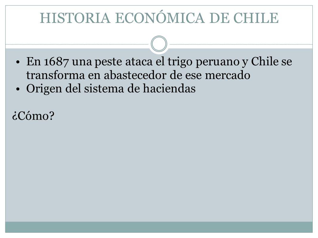 HISTORIA ECONÓMICA DE CHILE En 1687 una peste ataca el trigo peruano y Chile se transforma en abastecedor de ese mercado Origen del sistema de haciend