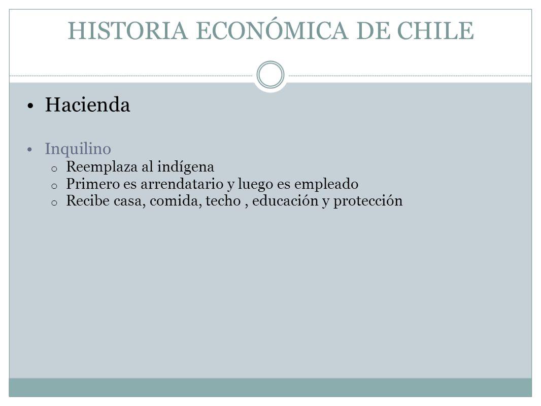 HISTORIA ECONÓMICA DE CHILE Hacienda Inquilino o Reemplaza al indígena o Primero es arrendatario y luego es empleado o Recibe casa, comida, techo, edu
