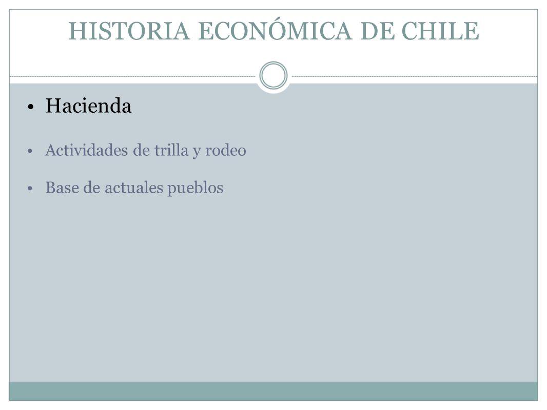 HISTORIA ECONÓMICA DE CHILE Hacienda Actividades de trilla y rodeo Base de actuales pueblos
