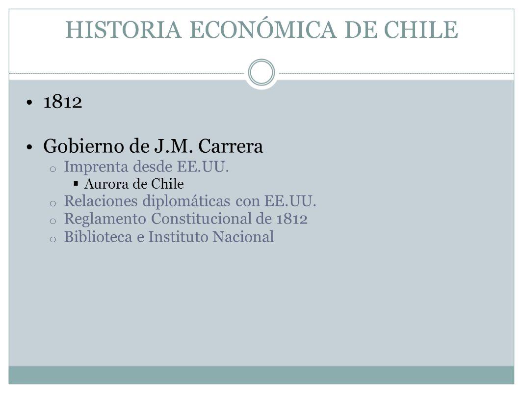 HISTORIA ECONÓMICA DE CHILE 1812 Gobierno de J.M. Carrera o Imprenta desde EE.UU. Aurora de Chile o Relaciones diplomáticas con EE.UU. o Reglamento Co