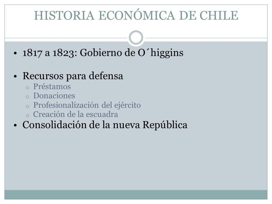HISTORIA ECONÓMICA DE CHILE 1817 a 1823: Gobierno de O´higgins Recursos para defensa o Préstamos o Donaciones o Profesionalización del ejército o Crea