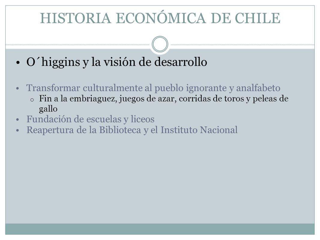 HISTORIA ECONÓMICA DE CHILE O´higgins y la visión de desarrollo Transformar culturalmente al pueblo ignorante y analfabeto o Fin a la embriaguez, jueg