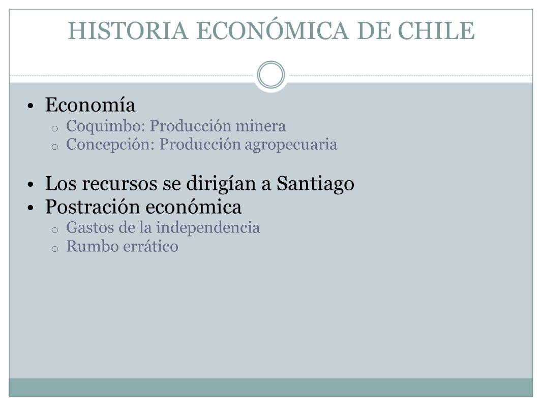 HISTORIA ECONÓMICA DE CHILE Economía o Coquimbo: Producción minera o Concepción: Producción agropecuaria Los recursos se dirigían a Santiago Postració