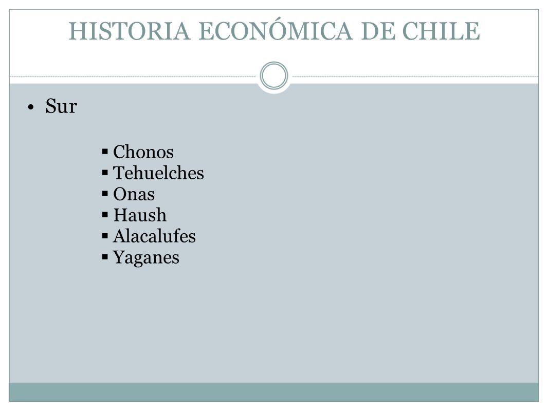 HISTORIA ECONÓMICA DE CHILE Sur Chonos Tehuelches Onas Haush Alacalufes Yaganes