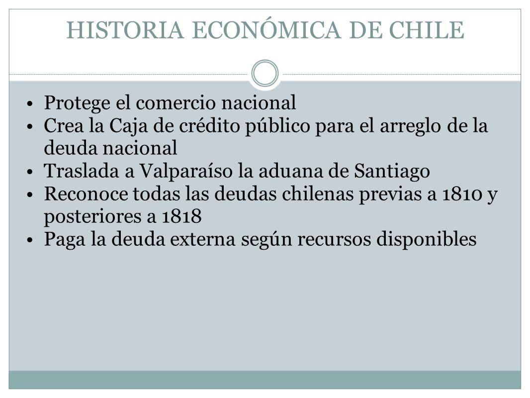 HISTORIA ECONÓMICA DE CHILE Protege el comercio nacional Crea la Caja de crédito público para el arreglo de la deuda nacional Traslada a Valparaíso la
