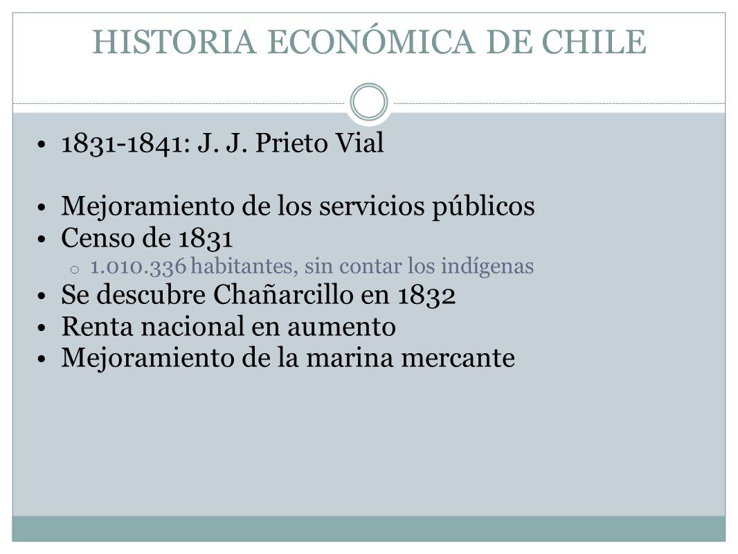 HISTORIA ECONÓMICA DE CHILE 1831-1841: J. J. Prieto Vial Mejoramiento de los servicios públicos Censo de 1831 o 1.010.336 habitantes, sin contar los i