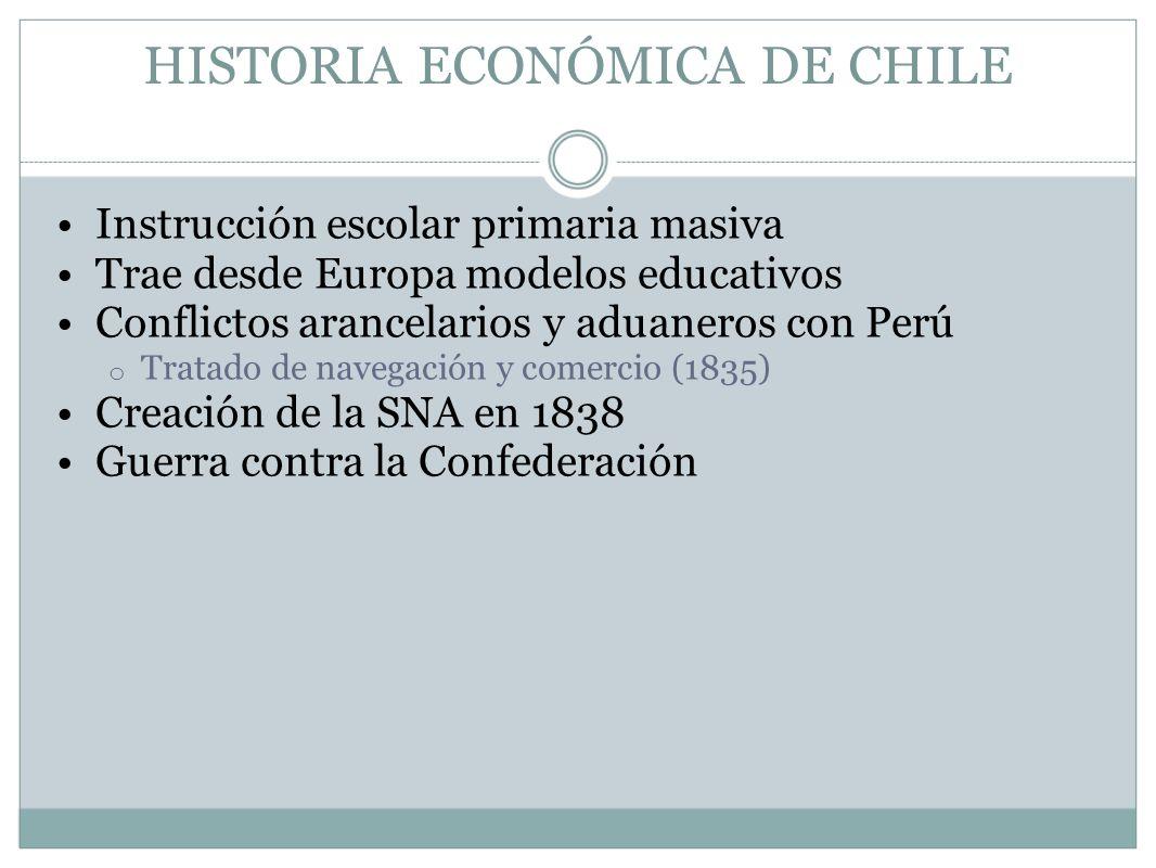 HISTORIA ECONÓMICA DE CHILE Instrucción escolar primaria masiva Trae desde Europa modelos educativos Conflictos arancelarios y aduaneros con Perú o Tr