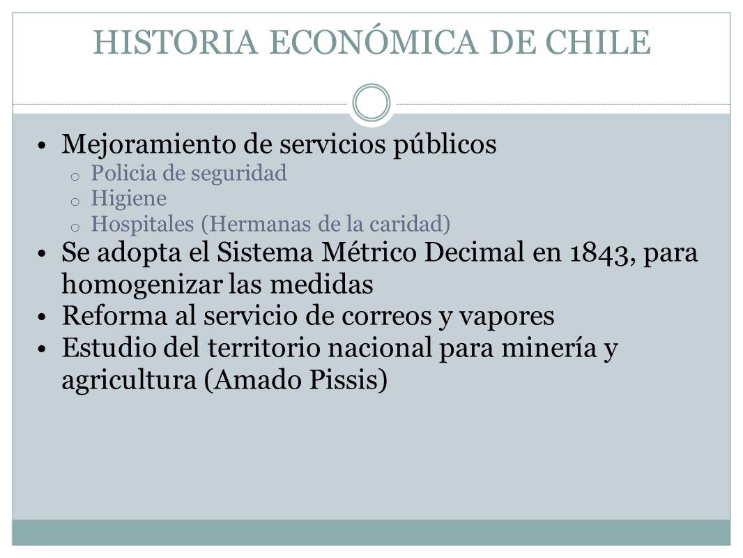 HISTORIA ECONÓMICA DE CHILE Mejoramiento de servicios públicos o Policia de seguridad o Higiene o Hospitales (Hermanas de la caridad) Se adopta el Sis