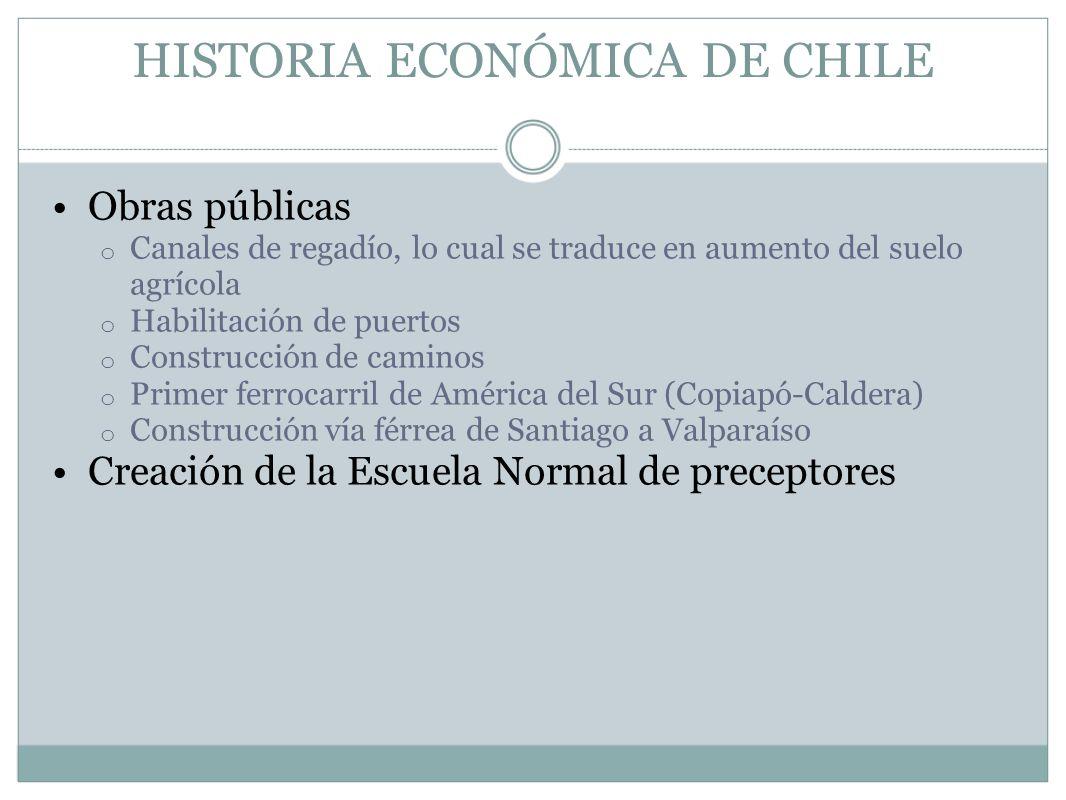 HISTORIA ECONÓMICA DE CHILE Obras públicas o Canales de regadío, lo cual se traduce en aumento del suelo agrícola o Habilitación de puertos o Construc