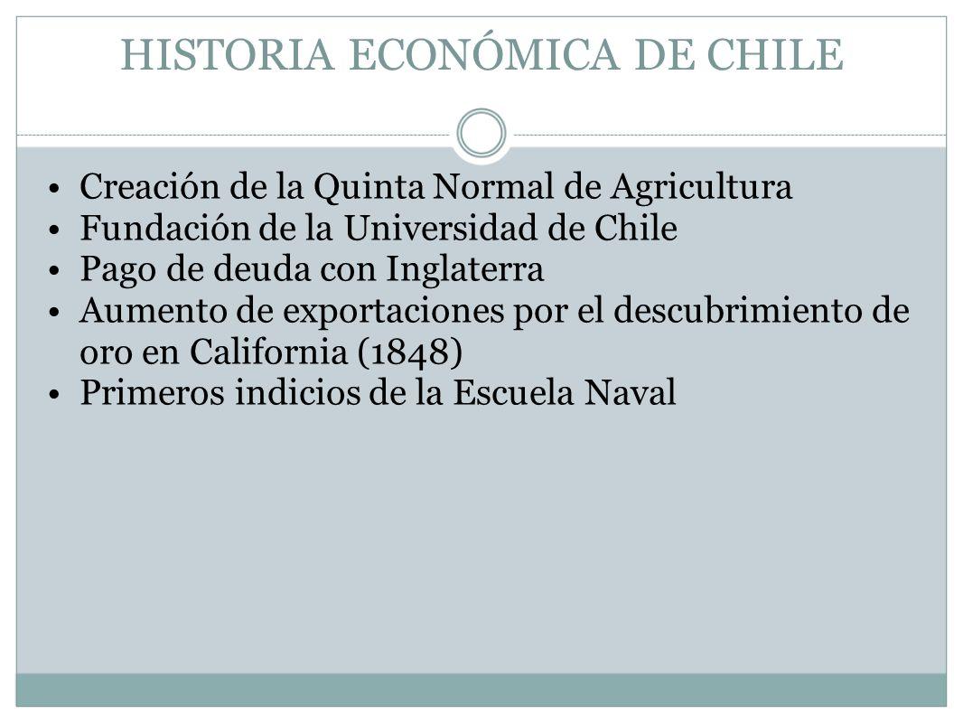 HISTORIA ECONÓMICA DE CHILE Creación de la Quinta Normal de Agricultura Fundación de la Universidad de Chile Pago de deuda con Inglaterra Aumento de e