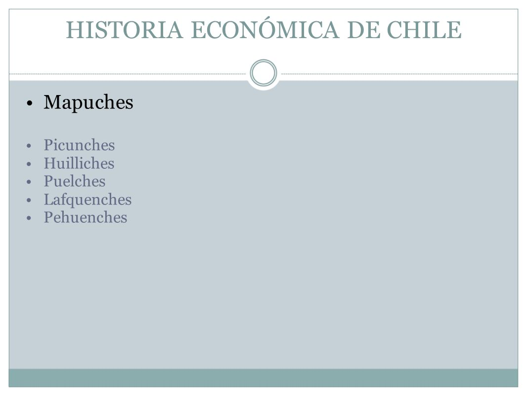 HISTORIA ECONÓMICA DE CHILE Mapuches Picunches Huilliches Puelches Lafquenches Pehuenches