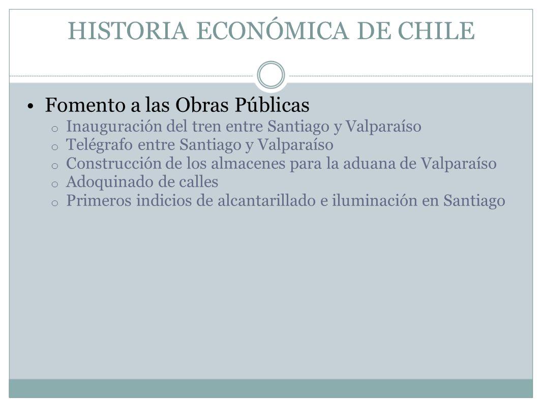 HISTORIA ECONÓMICA DE CHILE Fomento a las Obras Públicas o Inauguración del tren entre Santiago y Valparaíso o Telégrafo entre Santiago y Valparaíso o