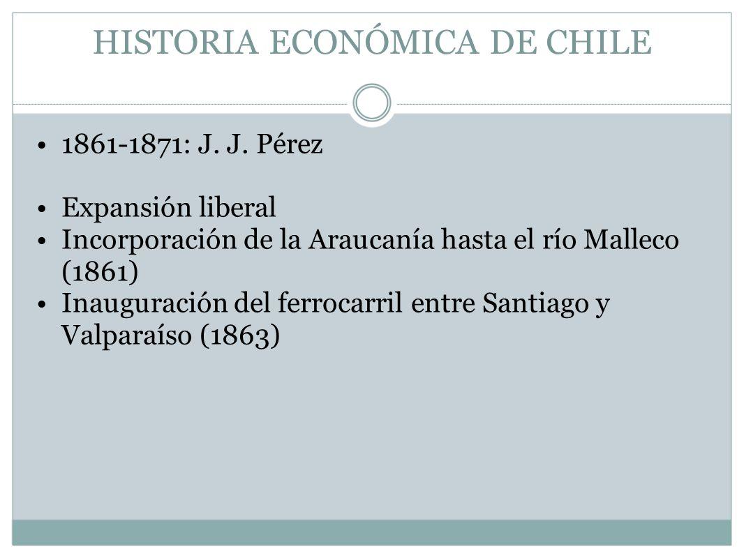HISTORIA ECONÓMICA DE CHILE 1861-1871: J. J. Pérez Expansión liberal Incorporación de la Araucanía hasta el río Malleco (1861) Inauguración del ferroc