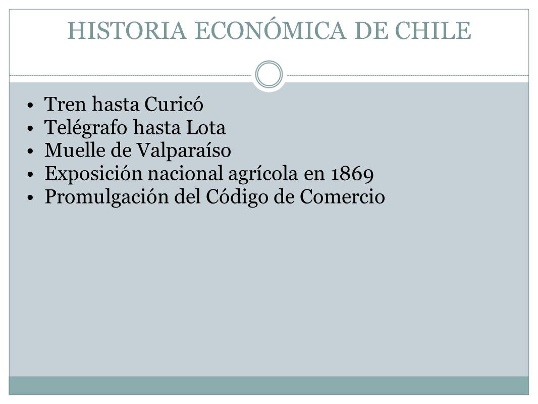 HISTORIA ECONÓMICA DE CHILE Tren hasta Curicó Telégrafo hasta Lota Muelle de Valparaíso Exposición nacional agrícola en 1869 Promulgación del Código d