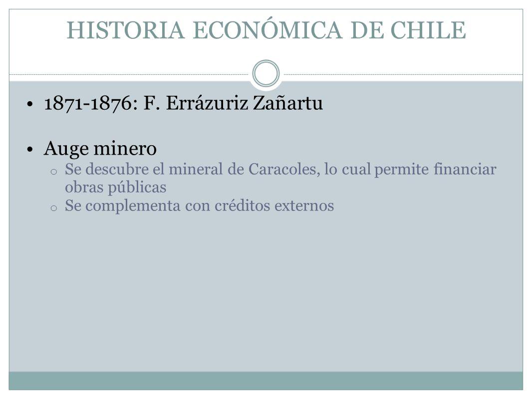 HISTORIA ECONÓMICA DE CHILE 1871-1876: F. Errázuriz Zañartu Auge minero o Se descubre el mineral de Caracoles, lo cual permite financiar obras pública