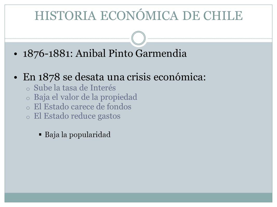 HISTORIA ECONÓMICA DE CHILE 1876-1881: Anibal Pinto Garmendia En 1878 se desata una crisis económica: o Sube la tasa de Interés o Baja el valor de la