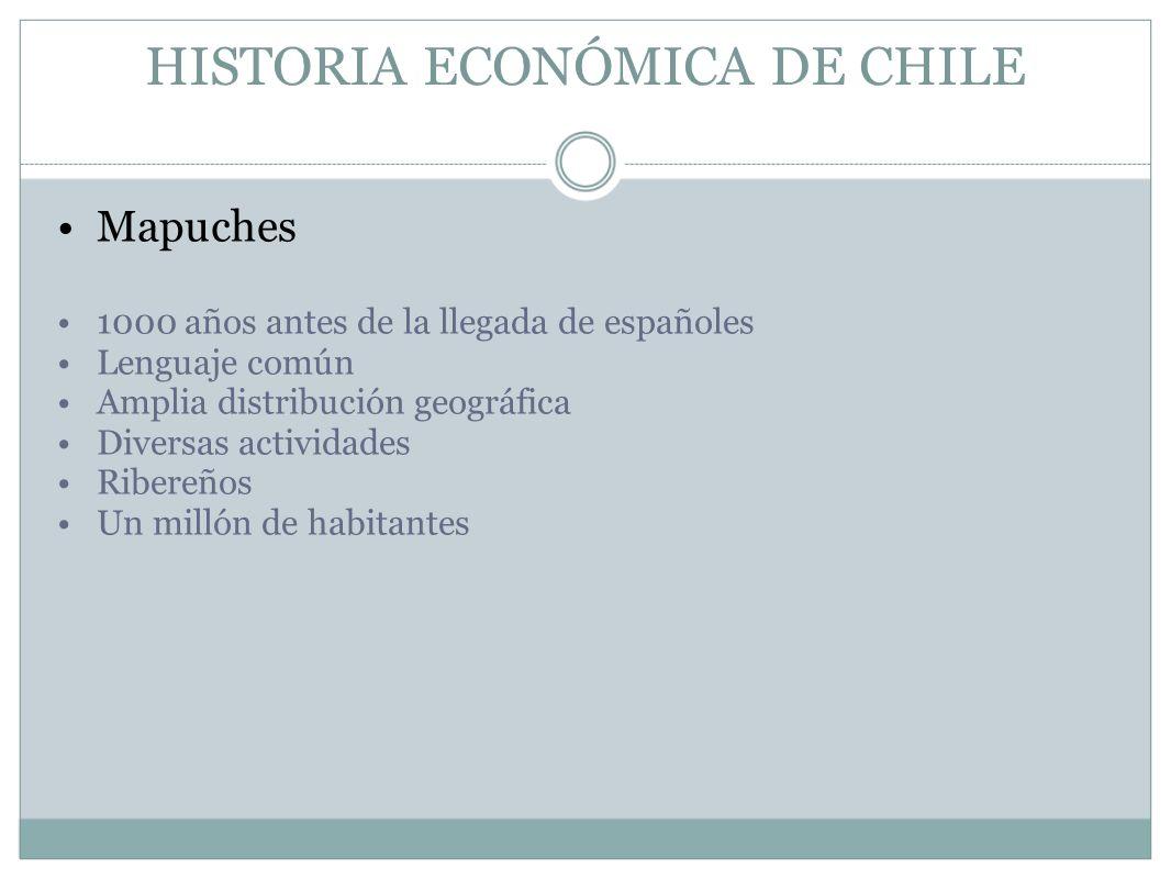 HISTORIA ECONÓMICA DE CHILE Mapuches 1000 años antes de la llegada de españoles Lenguaje común Amplia distribución geográfica Diversas actividades Rib